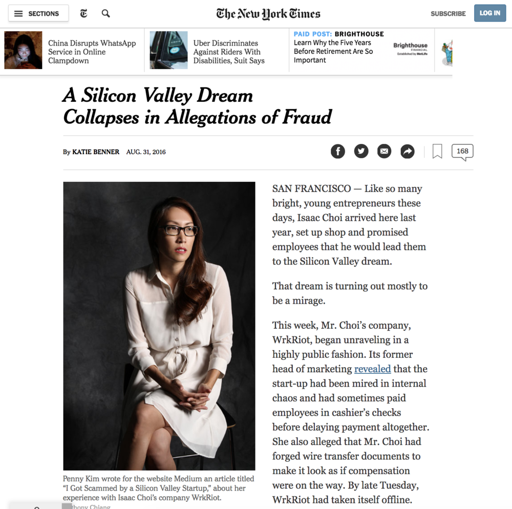 Featured in the Technology section of The New York Times  - August 31, 2016