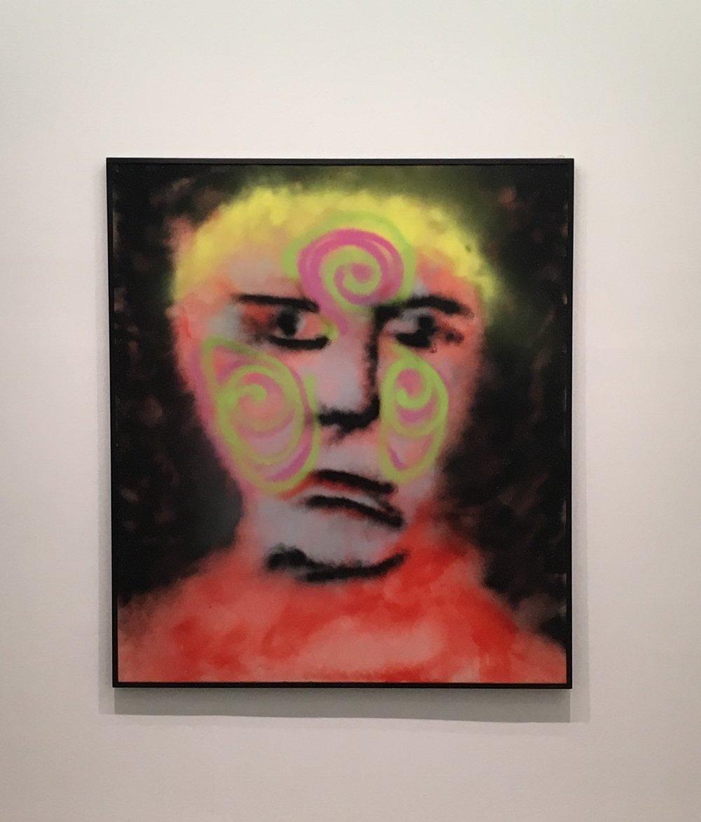 Sidney Nolan,  I Shall Tattoo Myself,  1982 spray paint on canvas 182.7 x 159.5 cm ©the sidney nolan trust