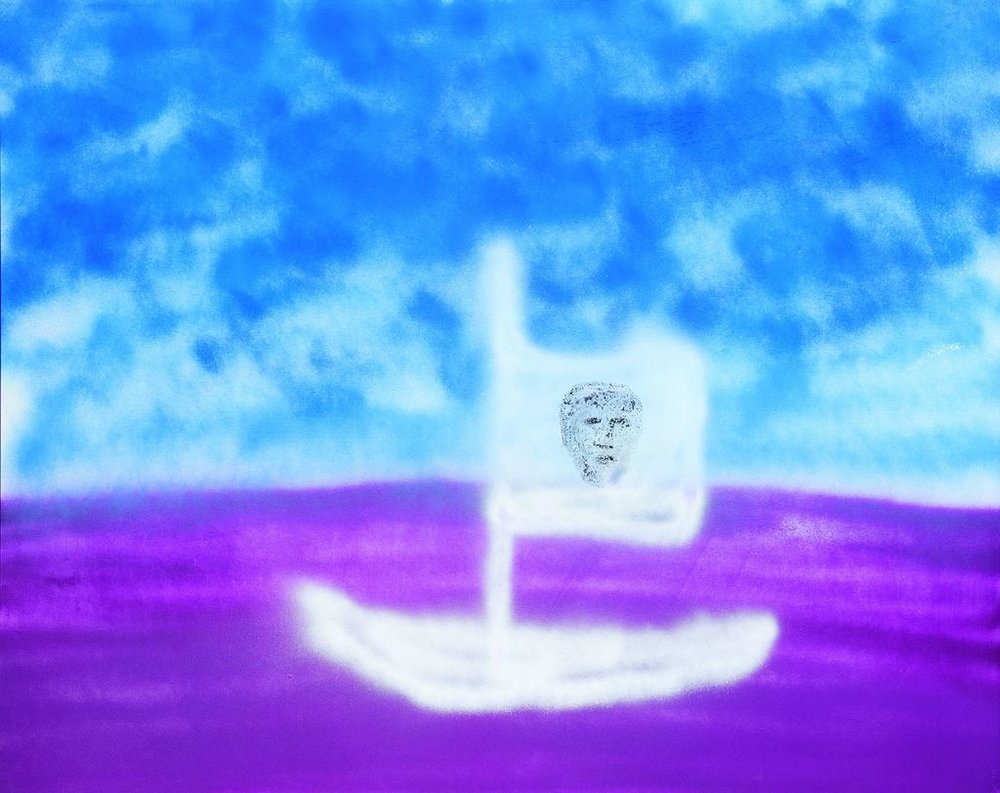 Sidney Nolan  The Drunken Boat  1982 Synthetic spray can paint on canvas 122 x 152.4 cm ACT Museums and Galleries ©the sidney nolan trust