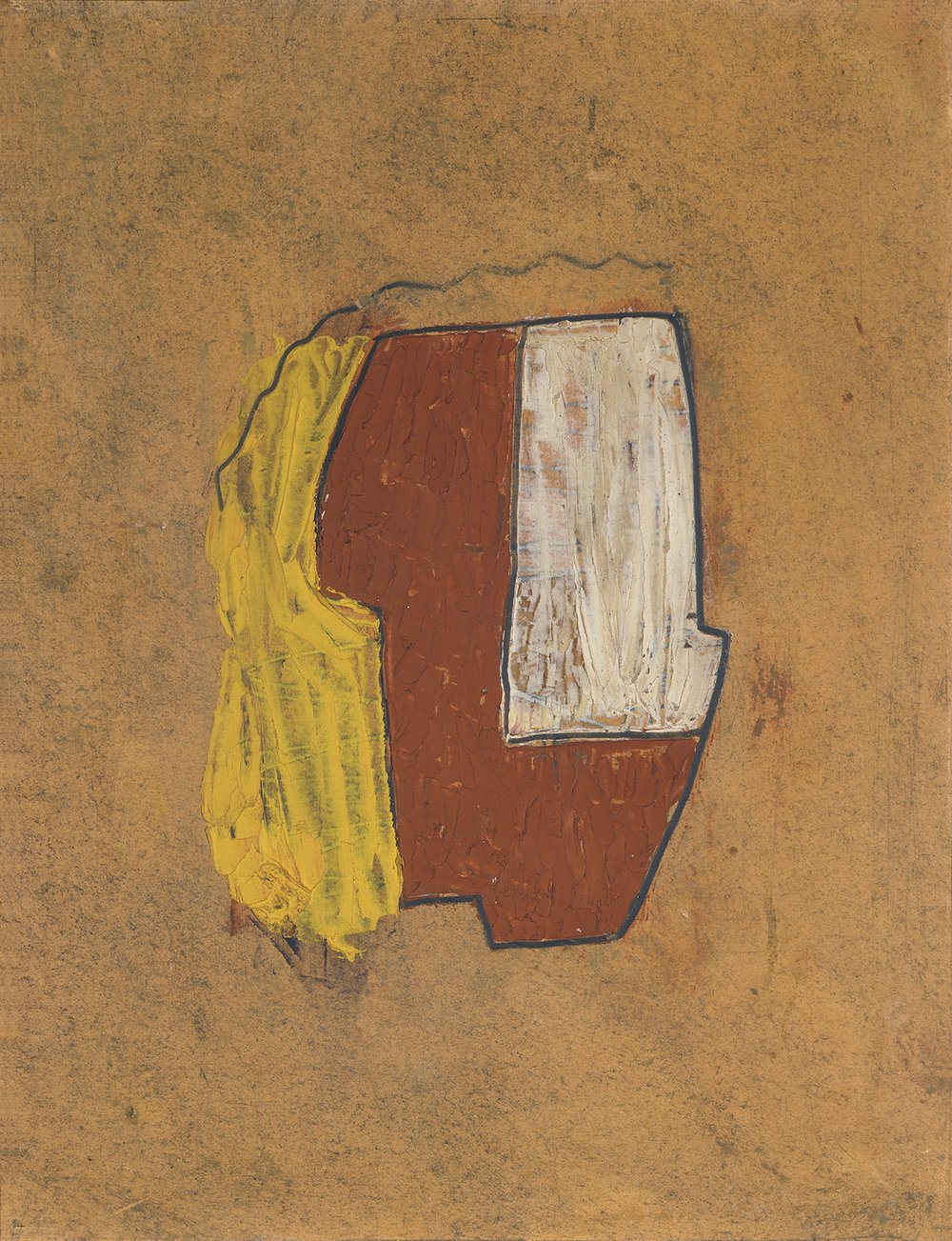 Sidney Nolan  Head of Rimbaud  1938–39 oil, boot polish and pencil on cardboard 34.3 x 26.9 cm Heide Museum of Modern Art, Melbourne Purchased from John and Sunday Reed 1980 © Sidney Nolan Trust