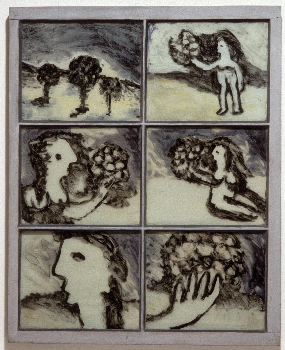 Sidney Nolan  Window: Girl and Flowers  1942 enamel on glass window 85 x 67.5 cm Heide Museum of Modern Art, Melbourne Bequest of Barrett Reid 2000 © Sidney Nolan Trust