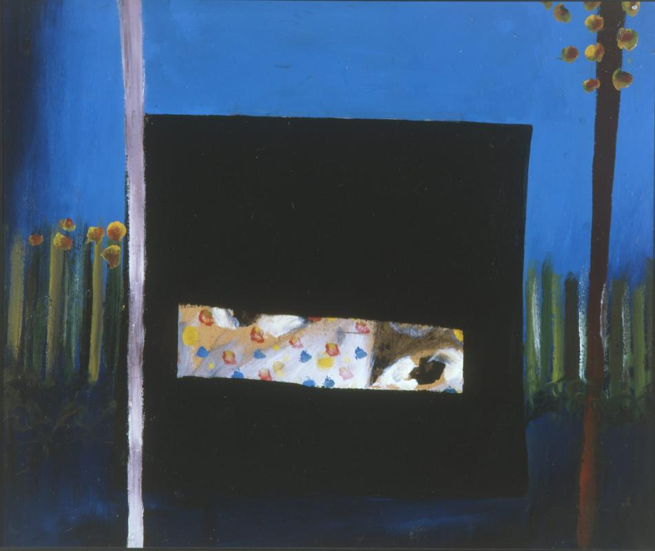 Sidney Nolan  Ned Kelly 'Nobody knows anything about my case but myself  1945 enamel on cardboard 64 x 76 cm Heide Museum of Modern Art Purchased with funds provided by the Friends of the Museum of Modern Art at Heide and the Heide Circle of Donors 1998 © The Sidney Nolan Trust