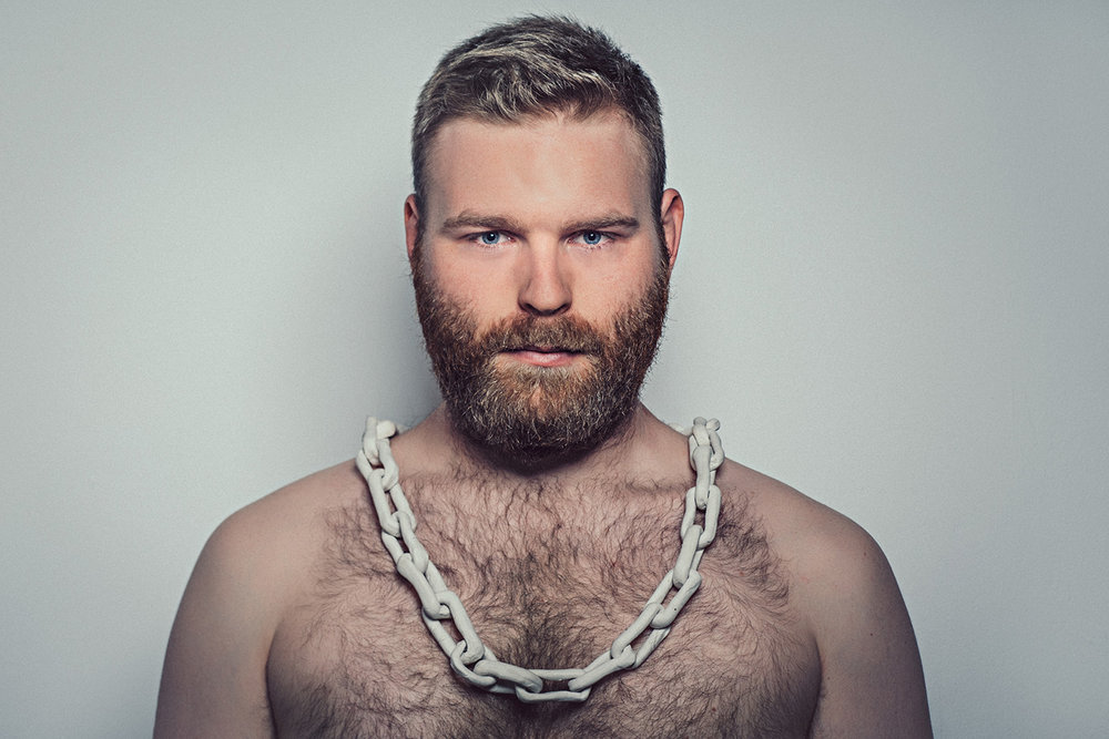 william martin, portrait of the artist with chain (2015) photography: chris parkes