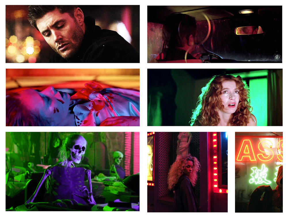 Color and lighting reference, including inspiration from Suspiria, Beetlejuice, and Supernatural.