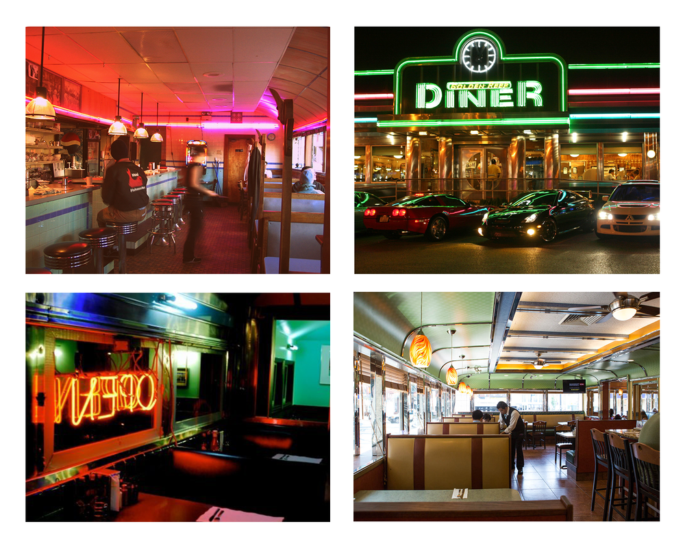 Diner reference images, for night lighting, mood, and architecture.