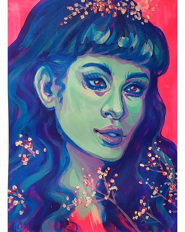 💖 First finished piece of 2019 💙 Acrylic study, based on a photo of the lovely @rachelgeorgina  I love using my neon pink paint, although it's almost impossible to photograph. . #acrylicpainting #painting #portrait #illustration #neon #portraiture #slcart #slcartist