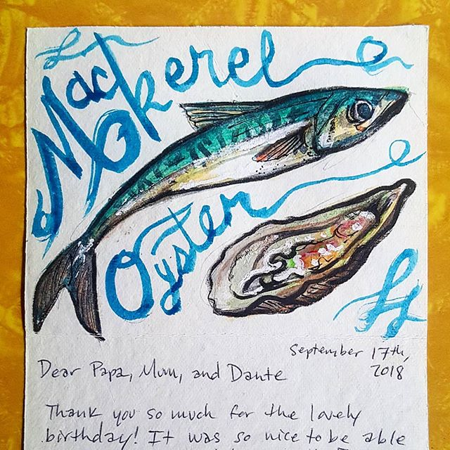 "Quick little mackerel and oyster watercolor inside a card, accompanied by a bad ""calligraphy"" attempt 😅 . . #watercolorpainting #watercolor #watercolorsketch #sketch #oyster #mackerel #seafood #illustration"