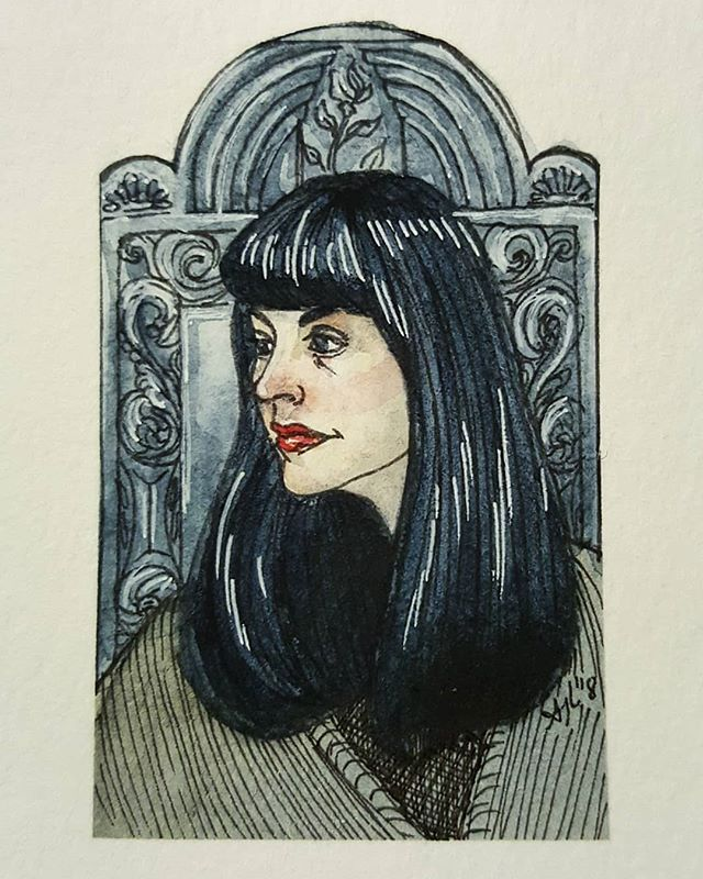 So excited and grateful that I got to meet one of my only living idols, Caitlin Doughty @thegooddeath 🖤  #deathpositive #deathling #askamortician #caitlindoughty #portrait #portraiture #watercolor  #watercolorpainting #ink #inktober2018