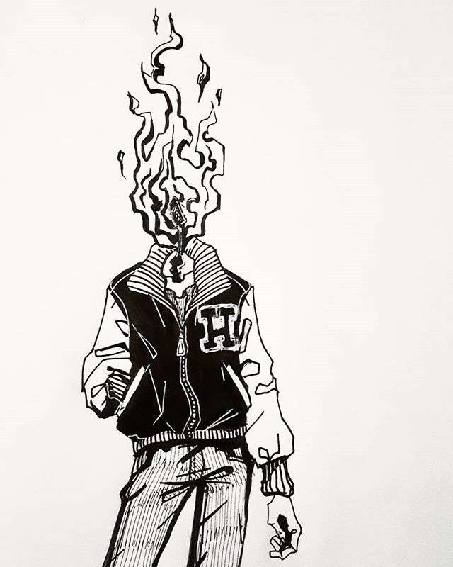 Day 3: Roasted 🔥 Quick doodle of a familiar dude. Hot head, or Matchstick head. He probably needs a proper name... . . #inktober #inktober2018 #inktoberday3 #inkdrawing #ink #sketchbook #sketch #oc #micronpen #sakurapen #micron