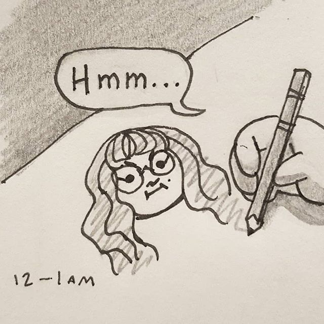 12 - 1 am -- I haven't made a comic in years... But I've wanted to participate in hourly comics day for so long! 😫  And if anything, at least I did something in hour one... . #hourlycomicday2019 #hourlycomicday #comic #itried