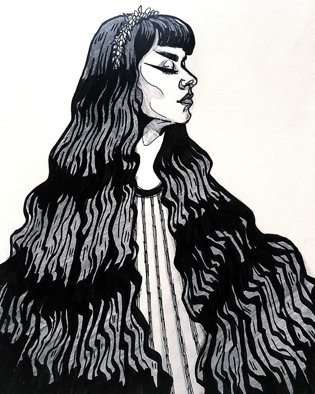 Little self portrait sketch to reacquaint myself a bit with drawing in ink. 💀🖤 . #inkdrawing #illustration #drawing #selfportrait #inkportrait #portraiture #drawing #sketch #sketchbook #slcart #slcartist #witchvibes #witchy #gothabilly