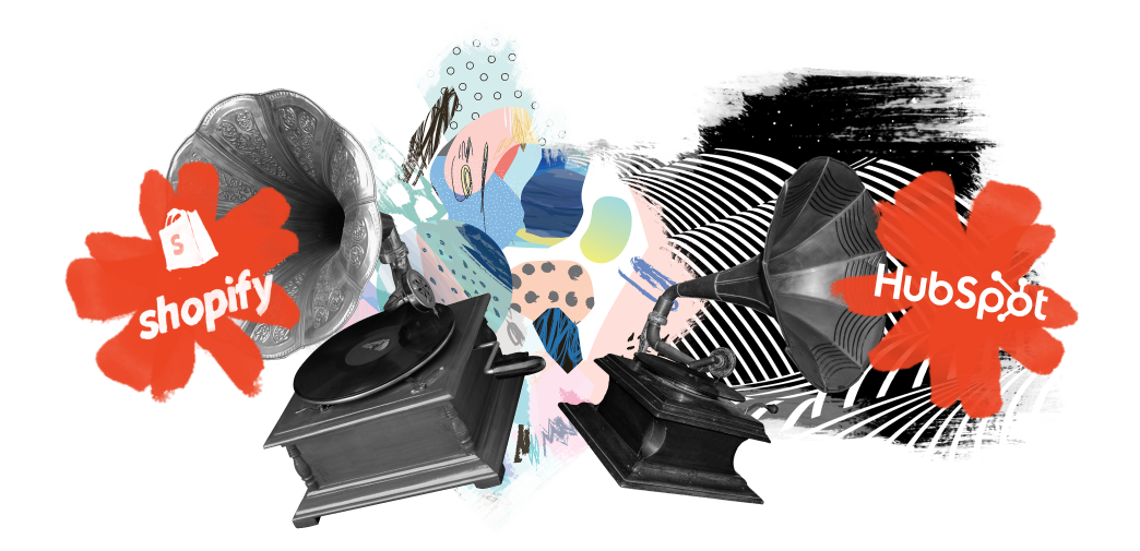 Surrealist collage of two gramophones on a colourful illustrated background, with projections of the Shopify and HubSpot logos