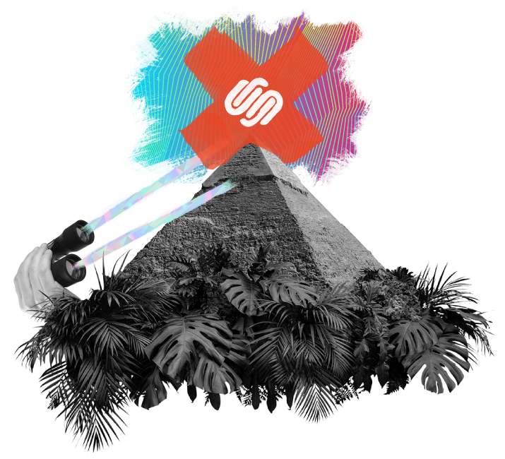 Surrealist collage of a lost pyramid with the Squarespace logo projected above the capstone