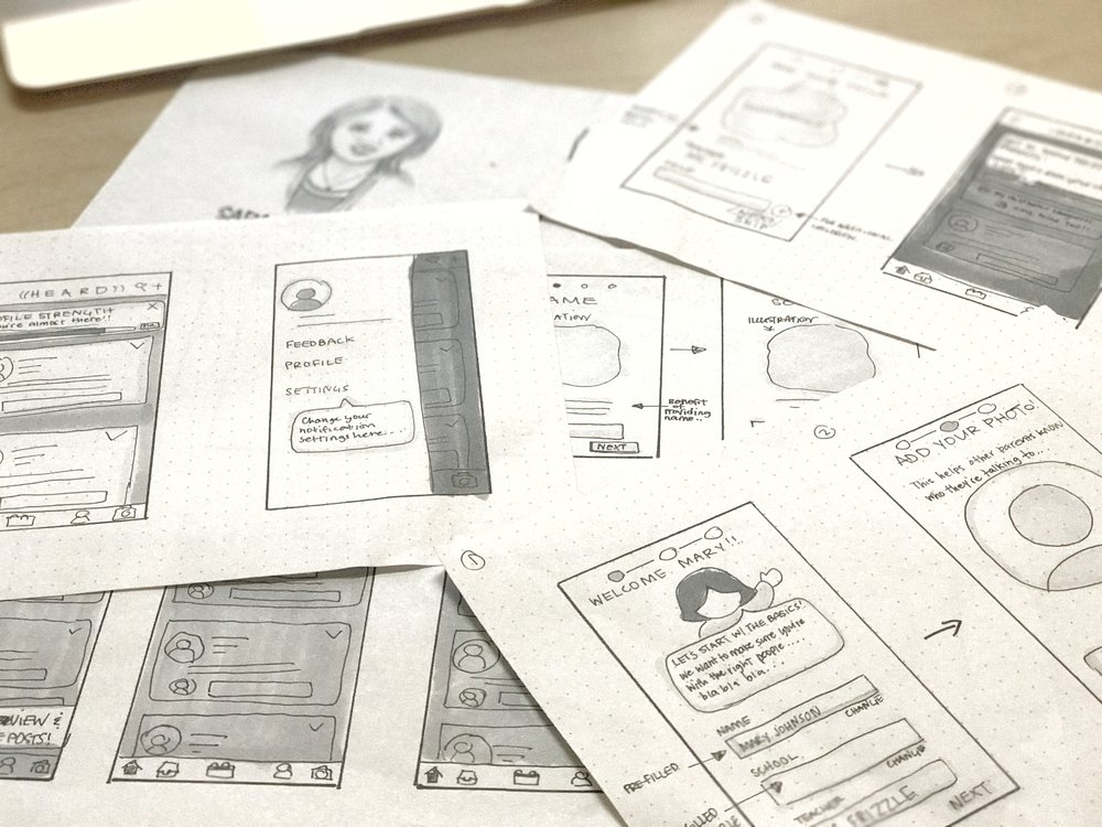 Diverging: Initial wireframes I created for possible workflows