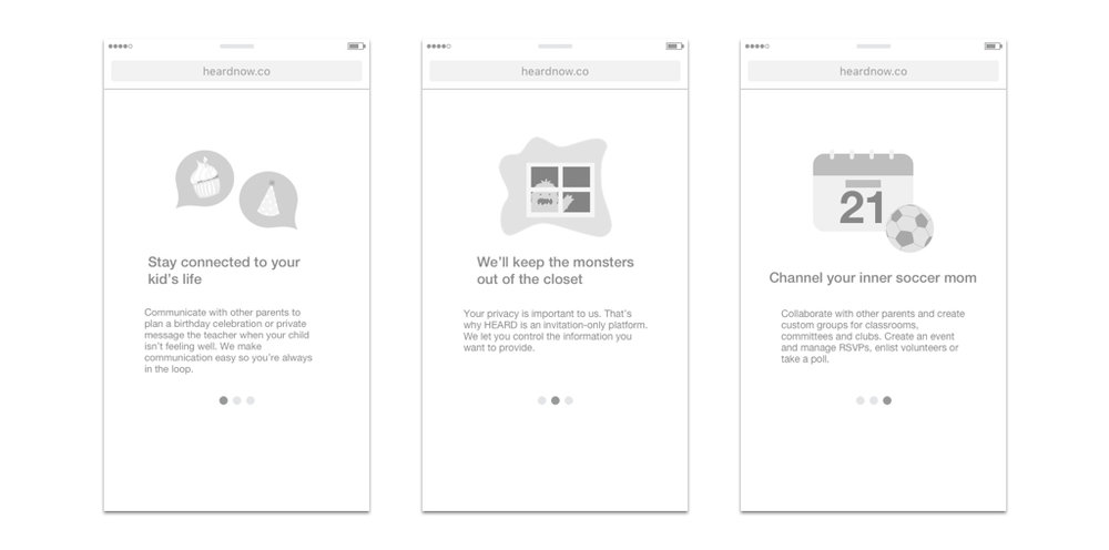 Initial lo-fi prototypes emphasizing the unique value proposition