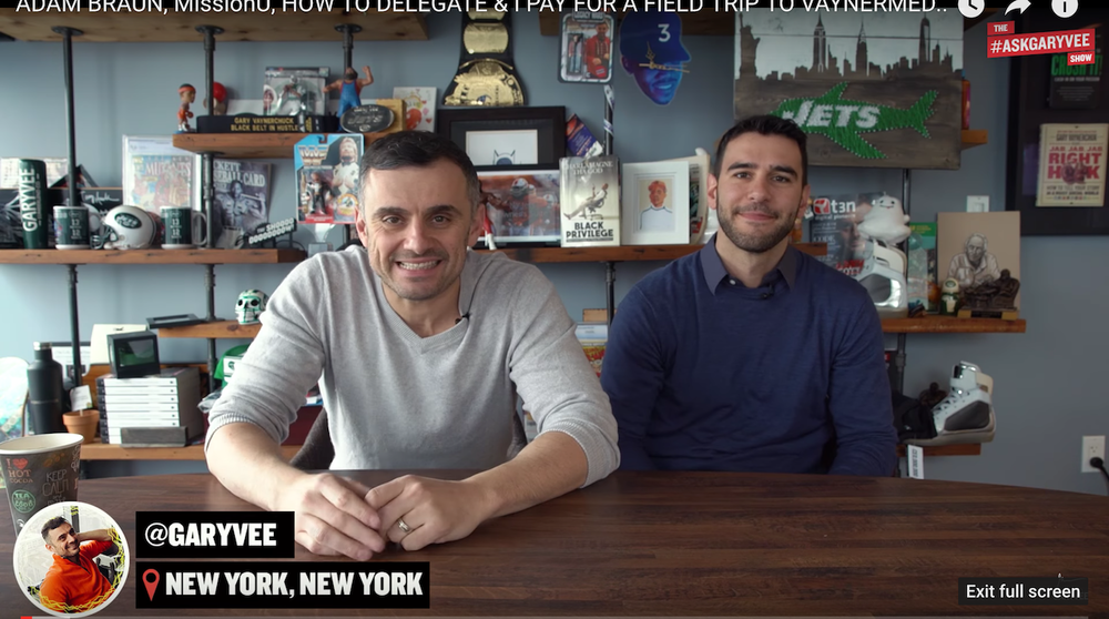 Gary Vaynerchuk @GaryVee (founder of @VaynerMedia) and Adam Braun @AdamBraun (founder of MissionU)