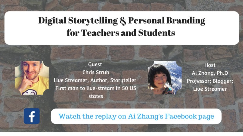Watch the replay on  Ai Addyson-Zhang's public Facebook page :  https://www.facebook.com/5735499/videos/10105955867016608/