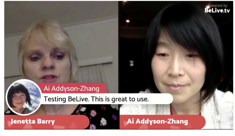 BeLive Image 2. Project viewers' comments onto the Facebook Live screen.