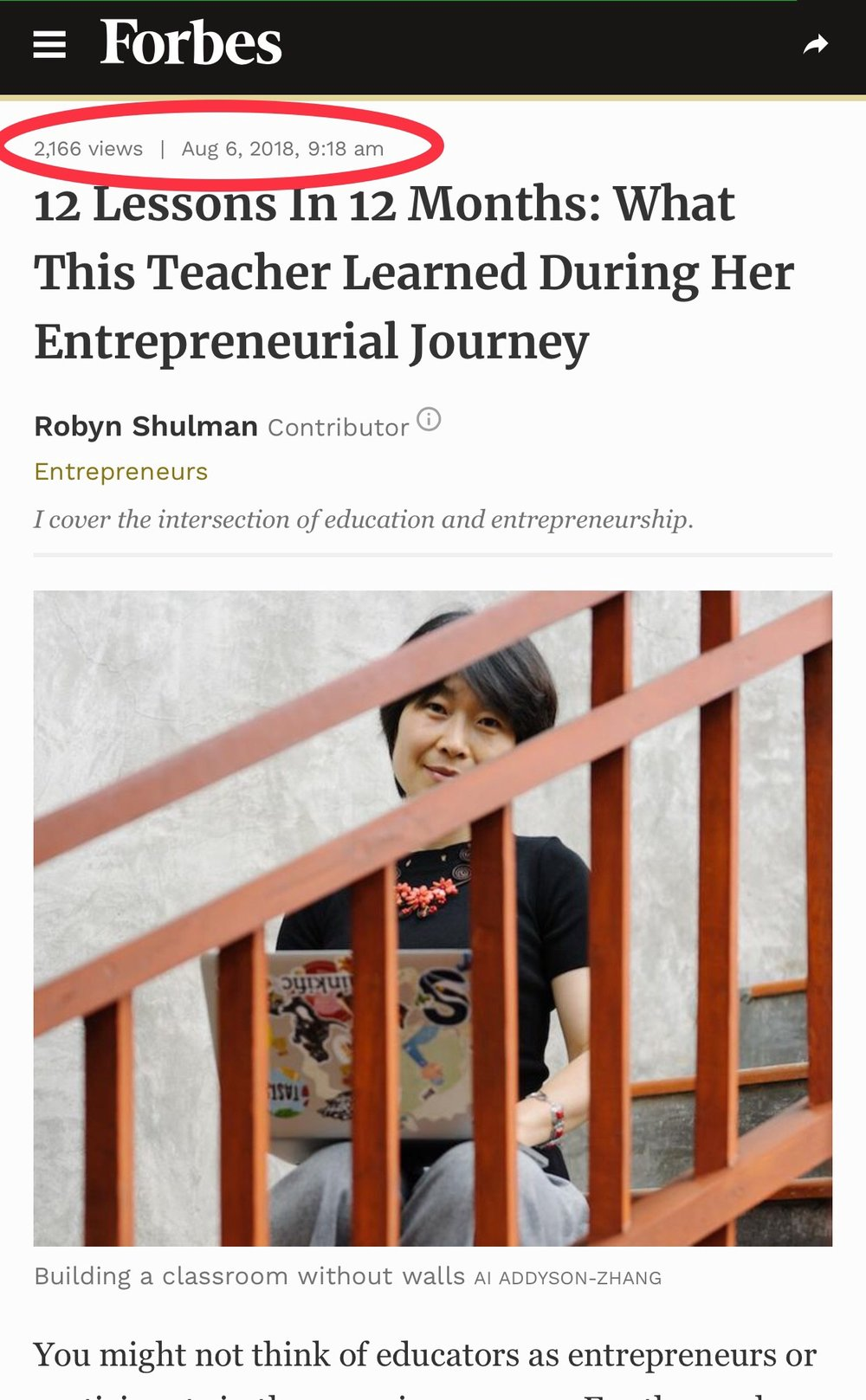 Screenshot of  my feature in Forbes, describing my entrepreneurial journey as an educator .