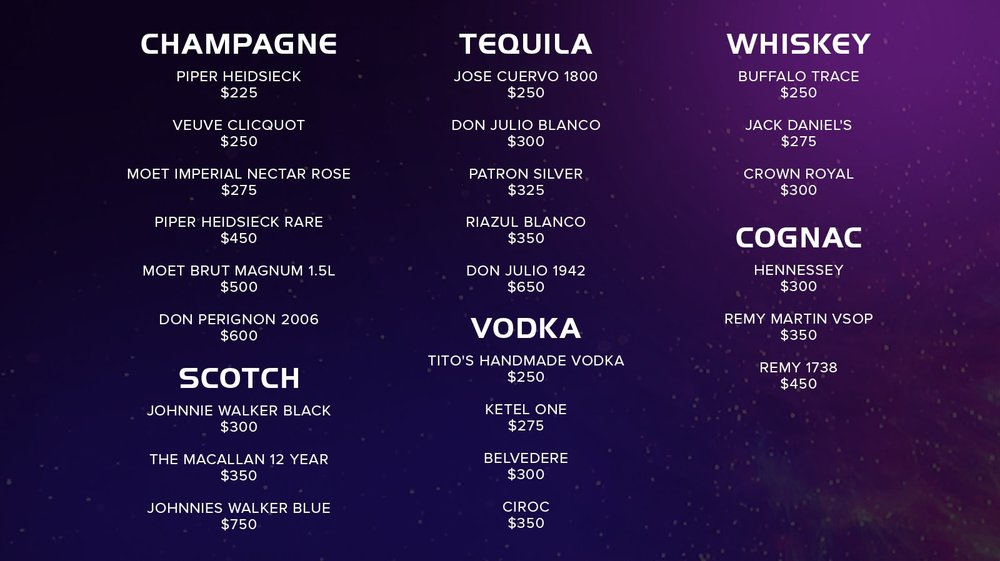 Bottle Service Menu - Champagne, Scotch, Vodka, Tequila, Whiskey