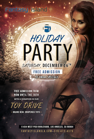 It's that time of year!  Come celebrate the Holidays with the Fantasy Island Family!  🎉🎁🎄🍸🍻  Free admission with a new unwrapped toy.  $5 winter themed drink specials. ⛄❄  Come take a break from the Holiday shopping and dreaded in laws with us....  Www.fantasyislandla.com #happyholidays #fantasyisland #sportbar #stripclub #showgirls #bottleservice #christmasparty #exoticdancers #sexygirls #discretebilling #whathappensontheislandstaysontheisland