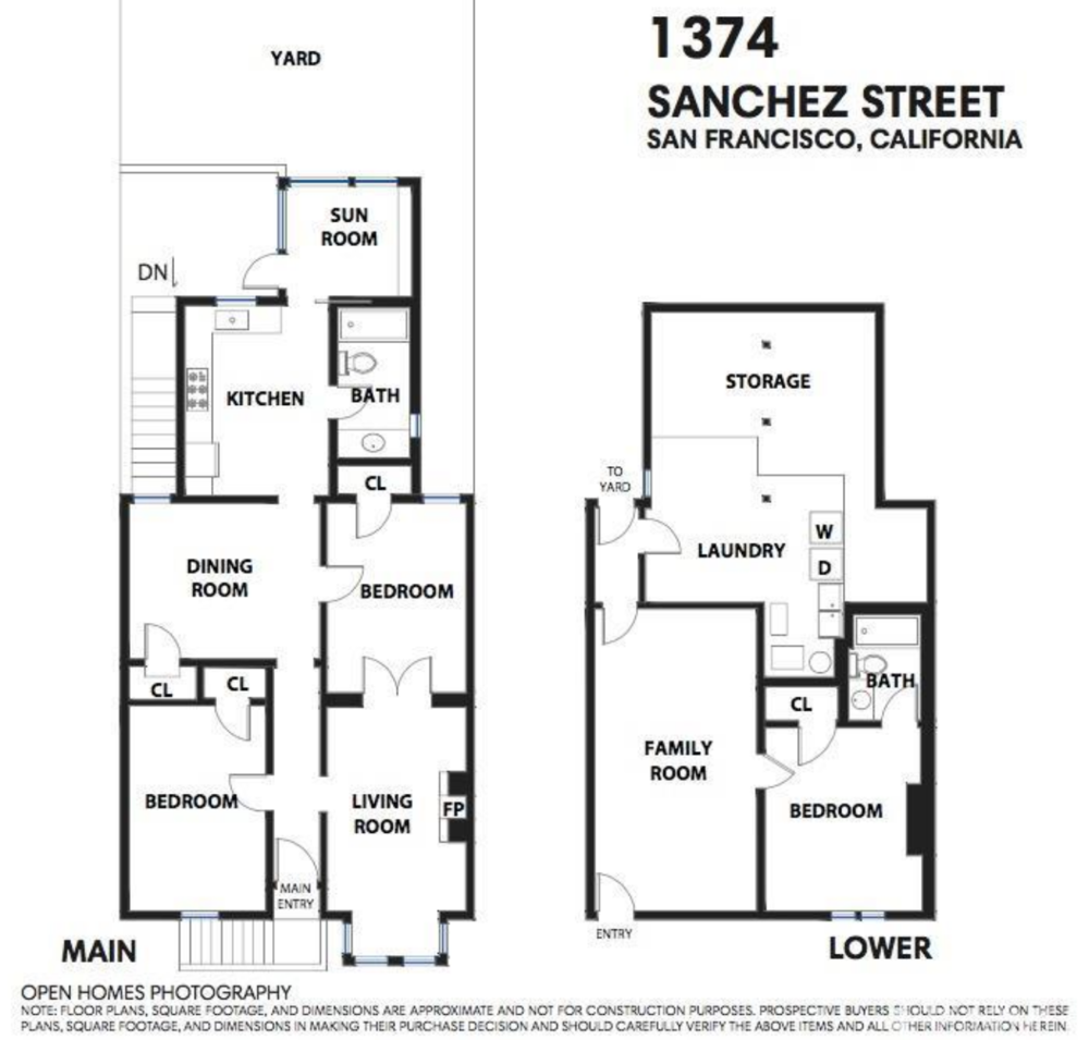 1374 Sanchez Street - Floor Plan
