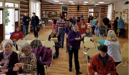 Volunteers gather in Sandpoint Community Hall March 11th, 2017  to knock on doors for the passage of the supplemental levy