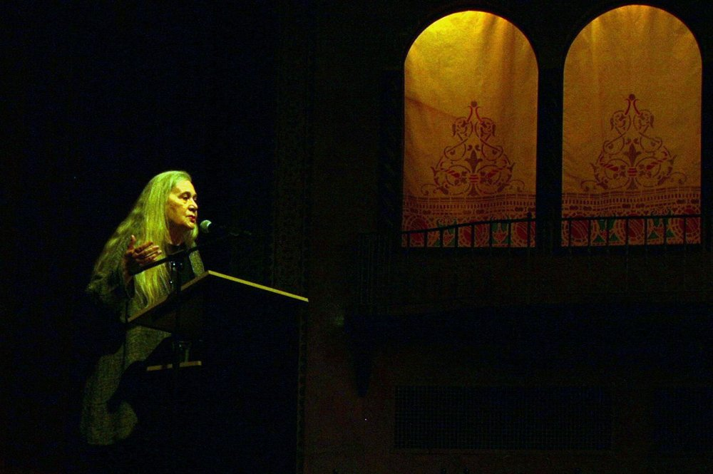 Pulitzer Prize-winning author Marilynne Robinson speaks at the Panida Theater in Sandpoint on Thursday about the need for public education in Idaho. (Katie Botkin / Katie Botkin/For The Spokesman-Review)