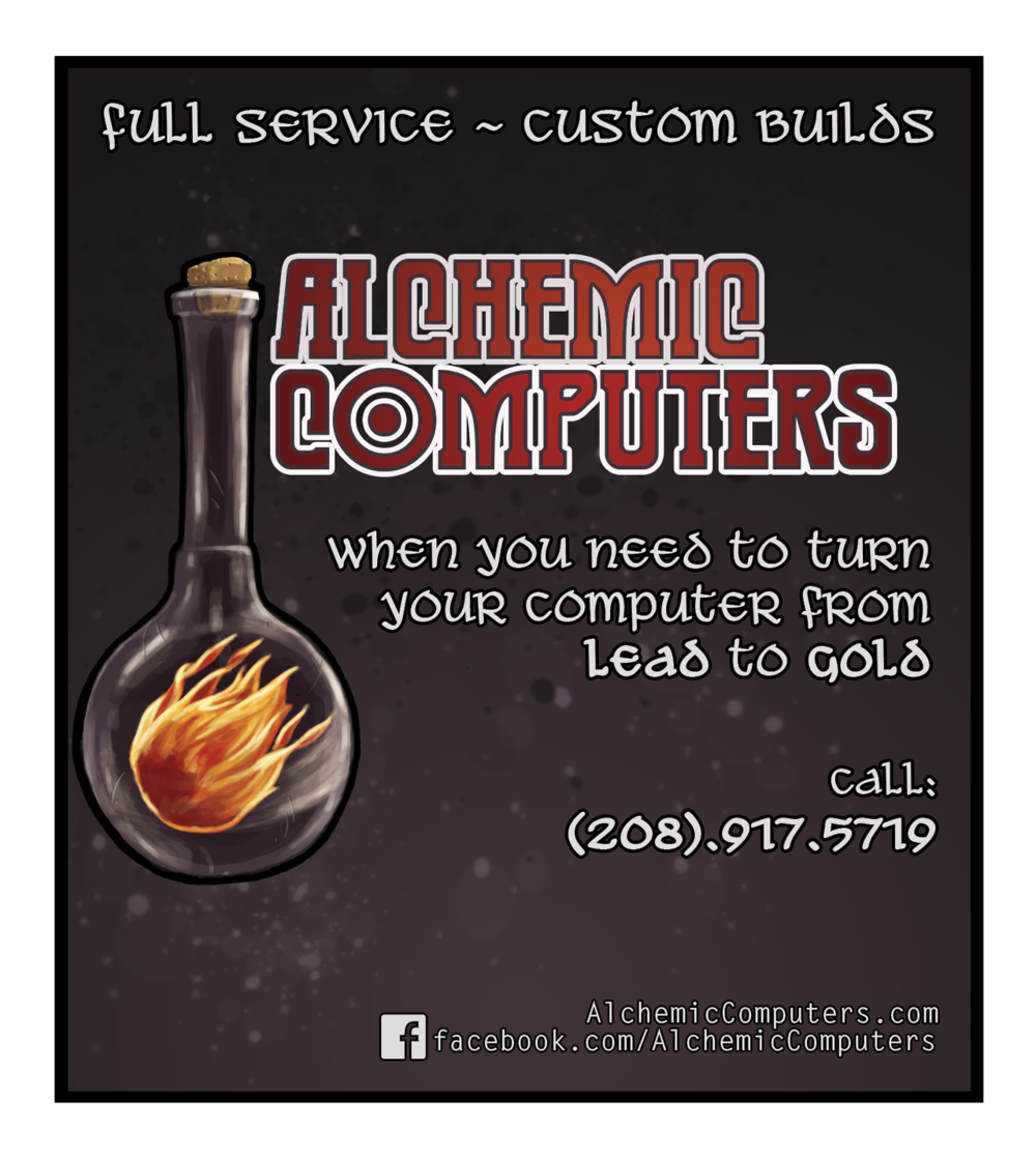 Newspaper ad I designed for Alchemic Computers. alchemiccomputers.com facebook.com/AlchemicComputers