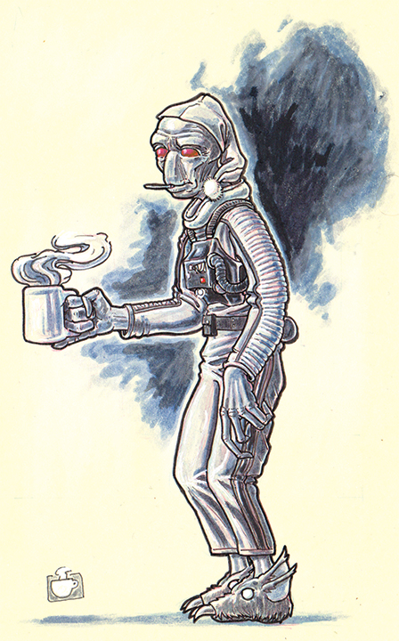 Inktober sketch based on a character from my weekly Star Wars Edge of the Empire game. A Duros pilot with a proclivity for death sticks and womprat slippers.