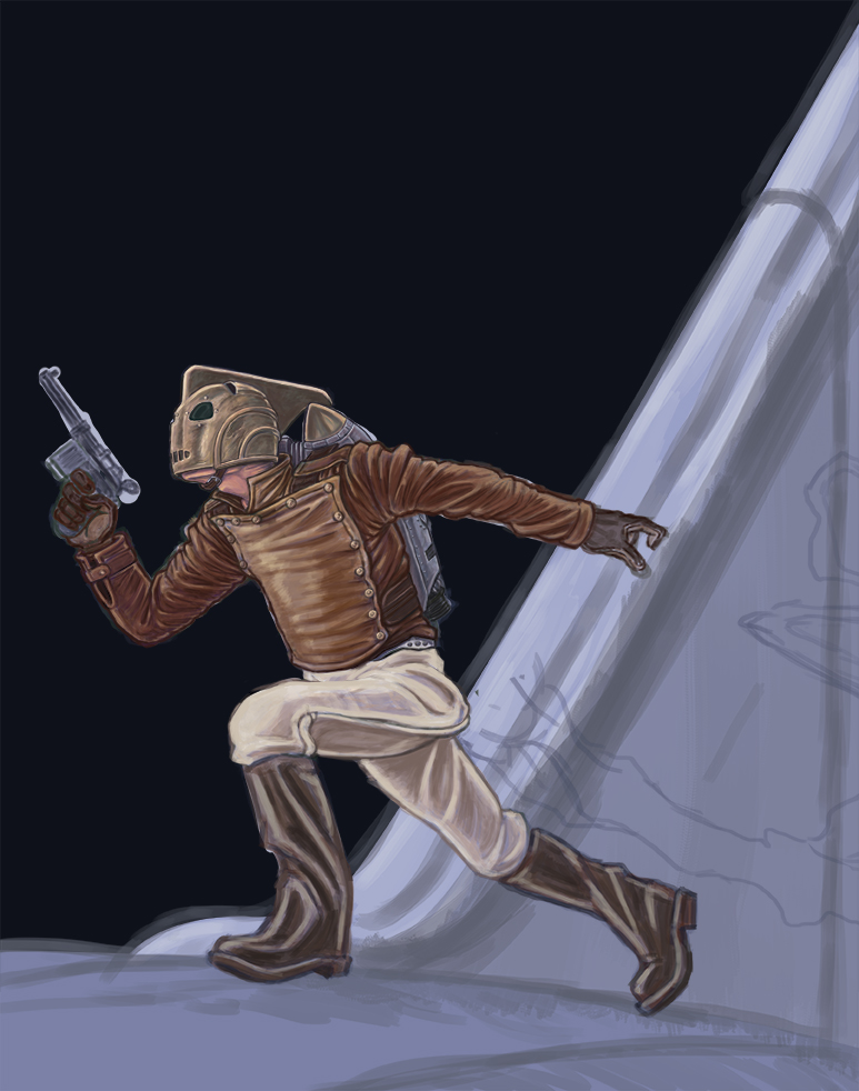 More progress on my Rocketeer painting.