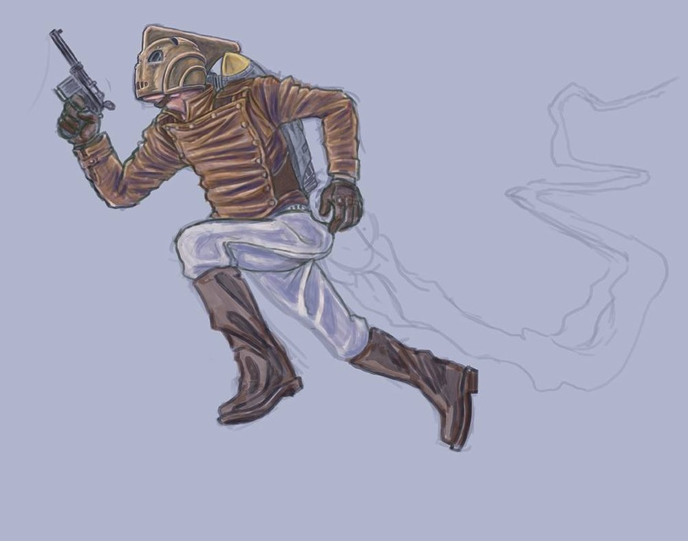 Lift off achieved, more progress on my Rocketeer Piece.