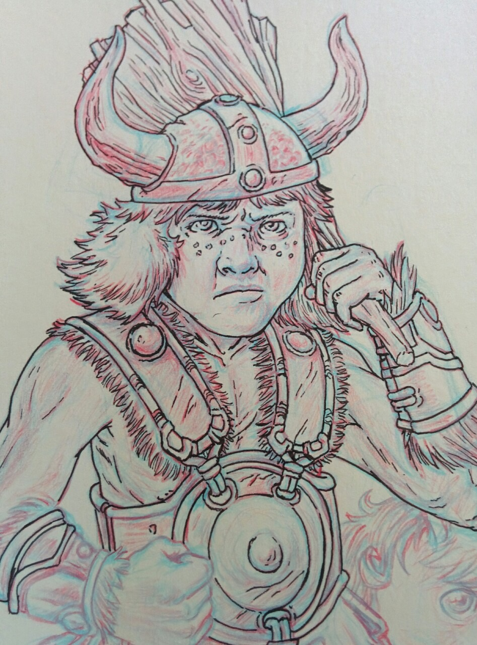 Working on Bobby the Barbarian from the 1980s Dungeons & Dragons cartoon series, busting out the pen and ink in ye ole moleskine.