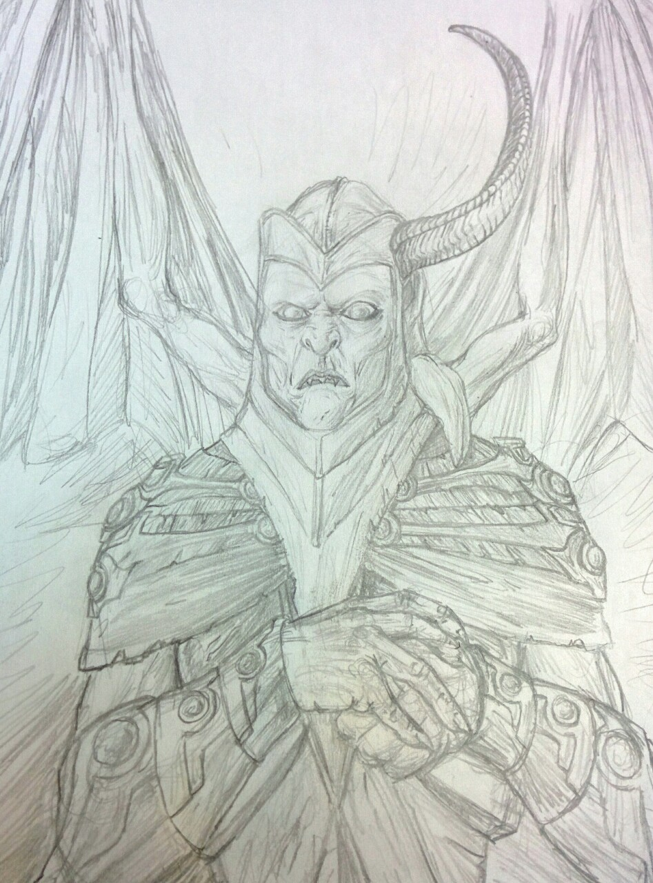 Drawing on my overnight shift, haven't flexed my pencil and paper muscles in a while. Decided to do a doodle of Venger from the old Dungeons & Dragons 80s cartoon.