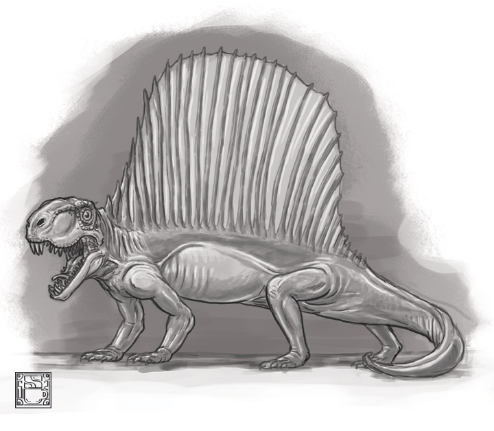 Dimetrodon Original resident of old world Texas. Black and white spot illustration for new blog entry I wrote for Skyline Civil Group about Texas paleontology.