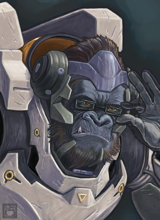 Final version of Winston from Overwatch. I think I'm gonna do more of these, Tracer is definitely next.
