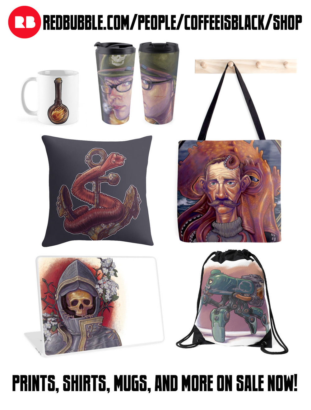 My new shop on Redbubble is up and running with high quality prints, shirts, mugs, and a whole lot more. Click Here! Use promo code: spruceup to get 20% off any tee purchase on Saturday the 30th.