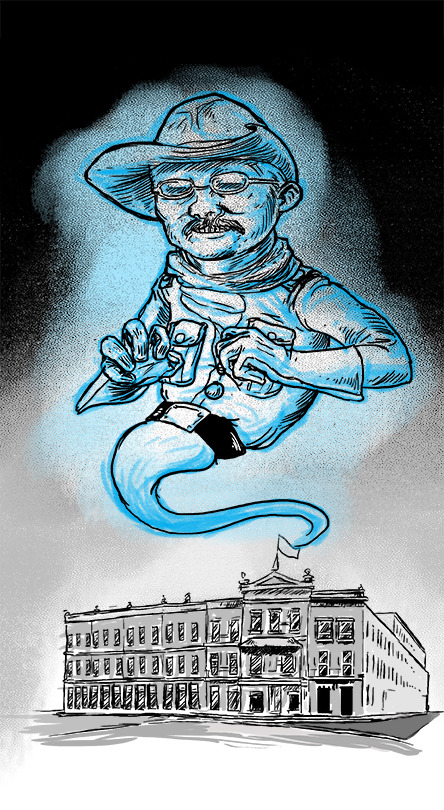 A quick illustration for the Skyline Civil Group blog I write for. Just did an entry on the Menger Hotel in San Antonio, Texas which is where Teddy Roosevelt met with and Recruited many of his Rough Riders. It also holds the title of Most Haunted Hotel in Texas, so I couldn't resist doing a little ghostly Teddy Roosevelt action.