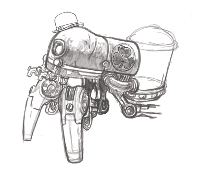 Work in progress sketch for my new St. Patribot: The Jaunty Irish Beer Dispensing Robot!