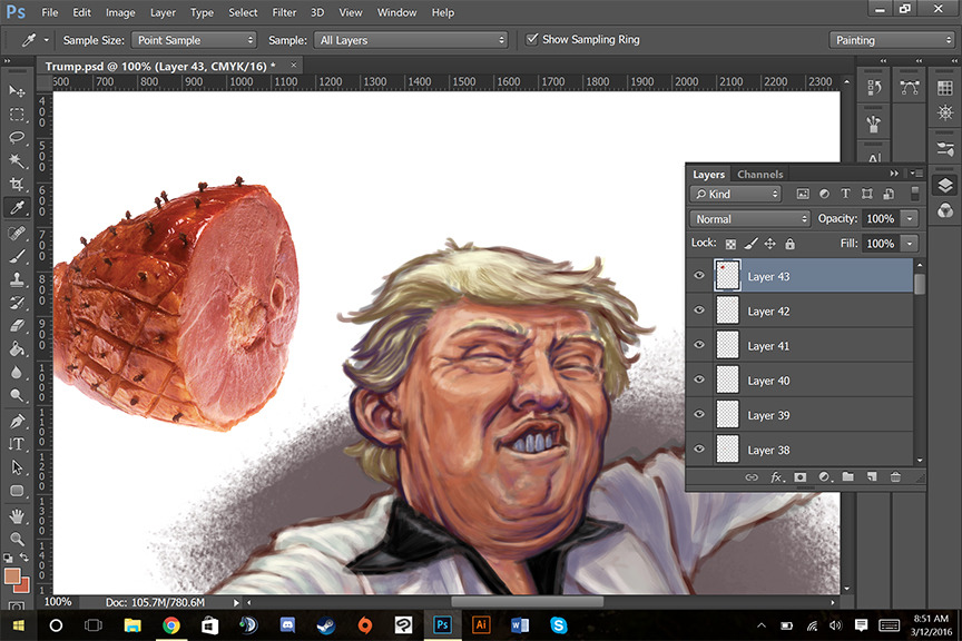Working on a new illustration of Donald Trump, seen here with reference for skin tone and texture.