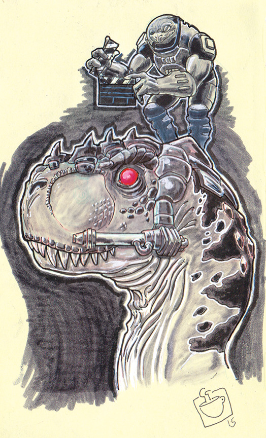One of the most awesome 1980s toy concepts is getting a movie, Dino Riders. Aliens crash land on the earth in the middle of the Mesozoic Era and strap laser cannons to dinosaurs in order continue their interstellar war.