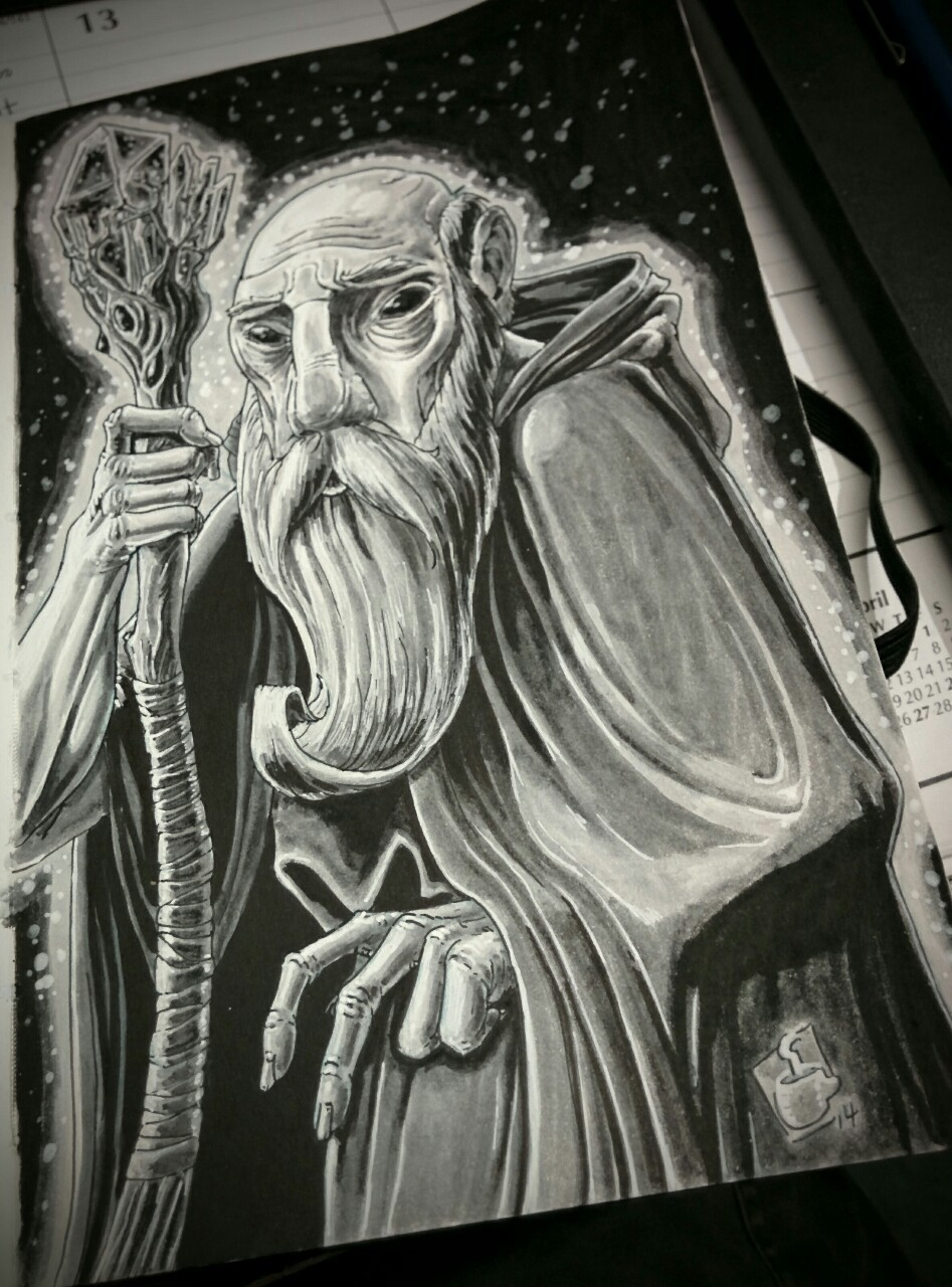 Recently inked my old blind wizard sketch as a test run for some new brush pens and white gel pens.