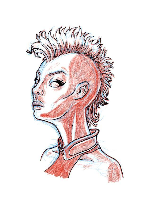 Sketch of Mohawk Storm, because Mohawk Storm is the best Storm. Glad to see they went with that look for X-Men: Age of Apocalypse.