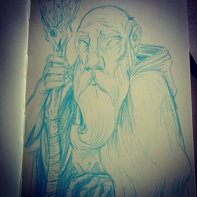 Blind wizard sketch. (at Cafe Creme)