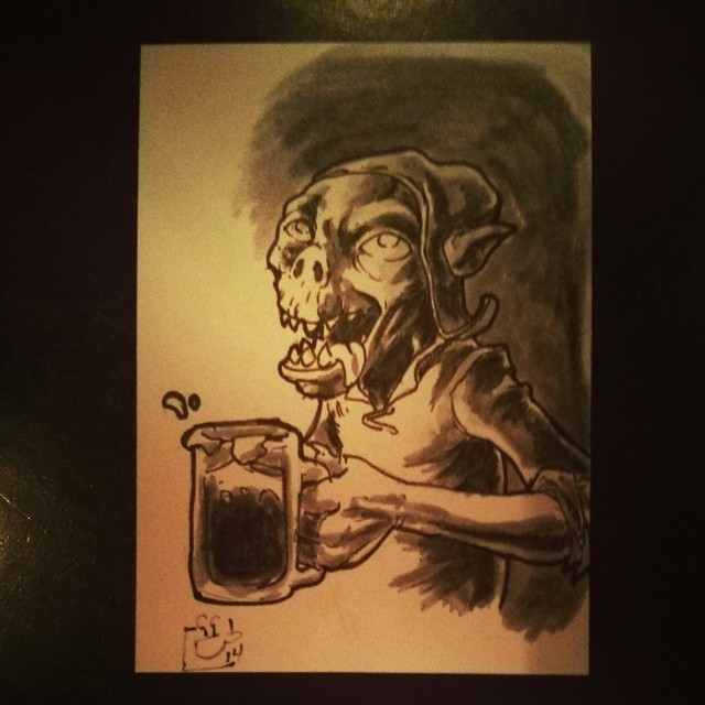 Drunk goblin I did at the Maine Cartoonists get-together. (at Seadog Brewing Company)