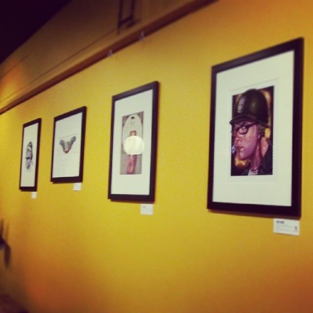 Hanging prints at The Local Buzz in Cape Elizabeth, Maine. (at Local Buzz)