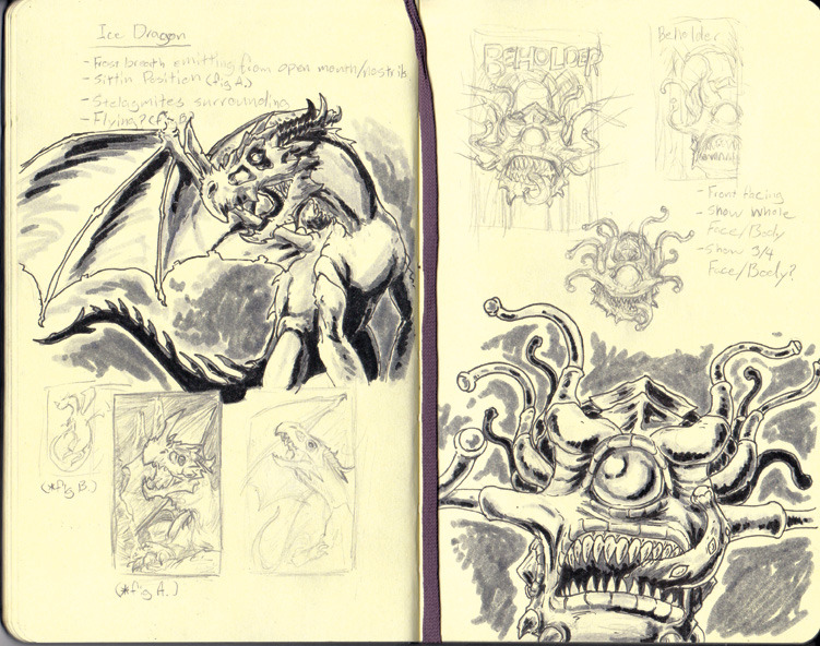 Sketches for my upcoming Monster Manual series, Ice Dragon and Beholder.