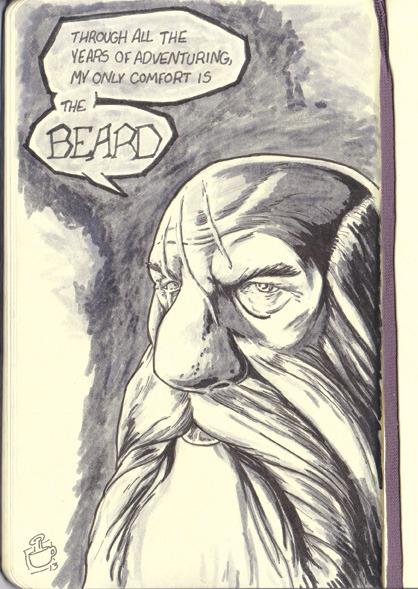 Epic Dwarf Beard drawing I did at Cafe' Creme' in Bath, Maine.