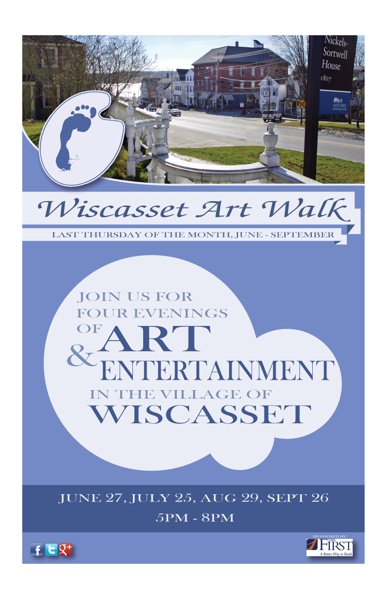 """Flyer for the my home town's first ever art walk, with graphic design by me and photo work by Rick Scanlan. """"Wiscasset Art Walk Flyer"""" digital paint in Adobe Illustrator/Adobe Photoshop ©2013 Sean Closson Go Here to """"Like"""" the Art Walk and keep up with the news: https://www.facebook.com/pages/Wiscasset-Art-Walk/115750335290297?fref=ts"""