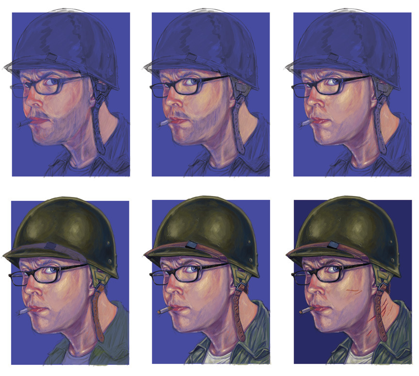 Progression series on a new portrait commission that may lead to more work. Digital paint in Adobe Photoshop ©2013 Sean Closson